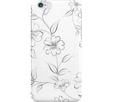 Elegant monochrome flowers fabric. iPhone Case/Skin