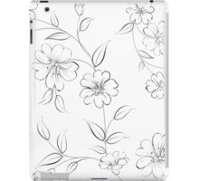 Elegant monochrome flowers fabric. iPad Case/Skin