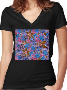 Trendy Floral Pattern Vintage Women's Fitted V-Neck T-Shirt