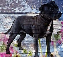 Staffy old painted wood  by HeckaDoodleDo