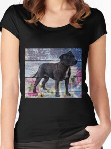 Staffy old painted wood  Women's Fitted Scoop T-Shirt