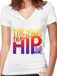 THE TRAGICALLY HIP - Artist logo white gradient summer tour 2016 Women's Fitted V-Neck T-Shirt
