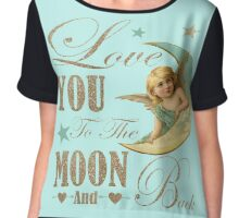 Angel moon typography love you to the moon and back Chiffon Top