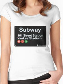 Yankees Subway Sign Women's Fitted Scoop T-Shirt