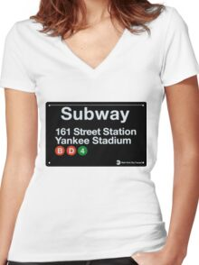 Yankees Subway Sign Women's Fitted V-Neck T-Shirt