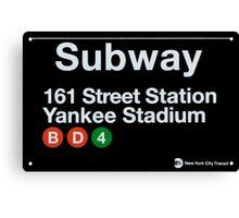 Yankees Subway Sign Canvas Print