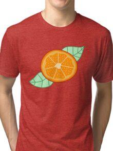 Orange Slice With Leaves Tri-blend T-Shirt