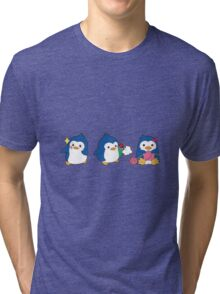 penguin trio Tri-blend T-Shirt