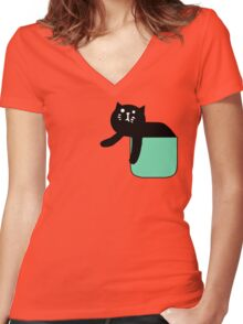 Nitori pocket cat tshirt Women's Fitted V-Neck T-Shirt