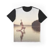 Woman practicing yoga on the water Anjaneyasana Low Lunge pose art photo print Graphic T-Shirt