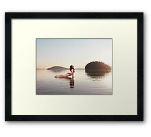 Woman practicing yoga on platform in the water Upward Facing Dog pose art photo print Framed Print