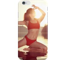 Woman practicing yoga on the water doing Pigeon pose in morning sunlight art photo print iPhone Case/Skin
