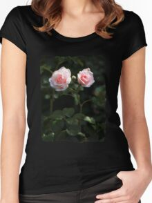 Two pink roses in the garden Women's Fitted Scoop T-Shirt