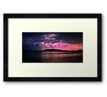 Pink Crepuscular Rays Ocean Sunrise with Water Reflections. Framed Print