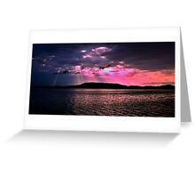 Pink Crepuscular Rays Ocean Sunrise with Water Reflections. Greeting Card