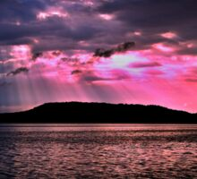 Pink Crepuscular Rays Ocean Sunrise with Water Reflections. Sticker