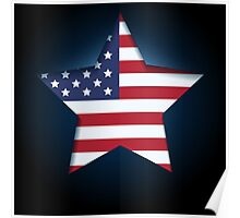 American flag in star shape Poster