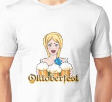 Girl with Beer Mugs Emblem Unisex T-Shirt