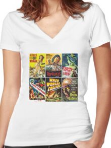 Vintage Sci-Fi Movie Poster Art Collection #1 Women's Fitted V-Neck T-Shirt
