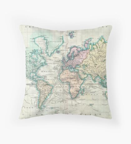 Vintage Map of The World (1801) Throw Pillow