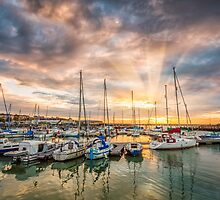 Ryde Harbour Sunbeam Sunset by manateevoyager