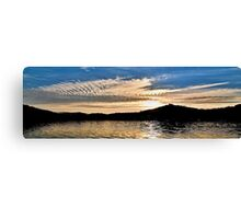 Blue and White Ocean Sunrise with Water Reflections. Canvas Print