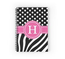 Black and White Zebra Stripes and Polka Dots H Monogram Spiral Notebook