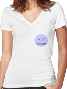 CRY BABY Women's Fitted V-Neck T-Shirt