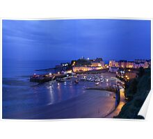 Tenby Harbour at night Poster