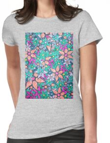Vintage Trendy Floral Pattern Womens Fitted T-Shirt
