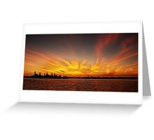 Gold Fingers - Ocean Sunrise with Water Reflections. Greeting Card