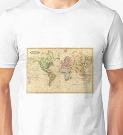 Vintage Map of The World (1831)  Unisex T-Shirt