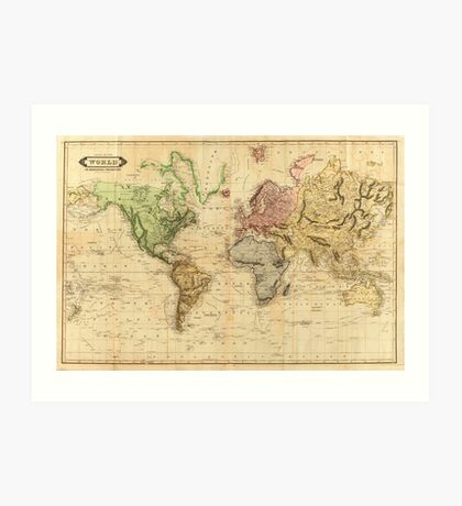 Vintage Map of The World (1831)  Art Print
