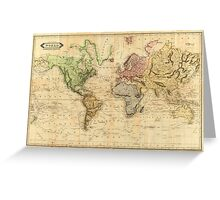 Vintage Map of The World (1831)  Greeting Card