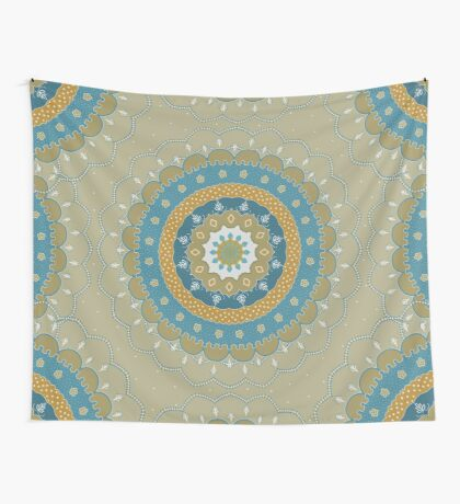 Blue Beige Yellow Mandala Wall Tapestry