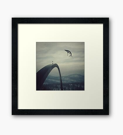 Boy and the flying whale Framed Print