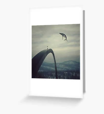 Boy and the flying whale Greeting Card