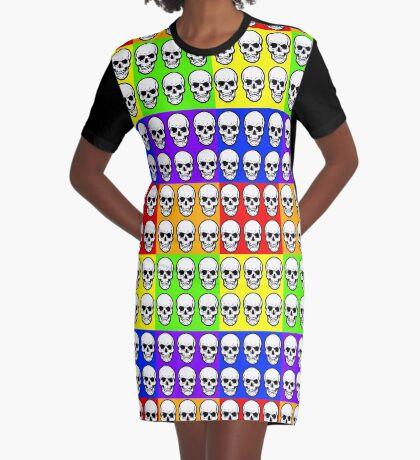 HUMAN SKULLS-MULTI-COLOURS Graphic T-Shirt Dress