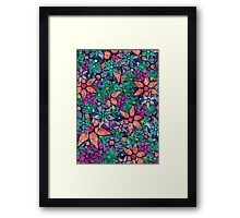 Retro Trendy Floral Pattern Framed Print