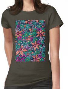 Retro Trendy Floral Pattern Womens Fitted T-Shirt