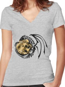 Dungeons and Dragons - Black and Gold! Women's Fitted V-Neck T-Shirt
