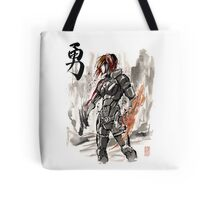 Female Shepard with Japanese Calligraphy Courage Tote Bag