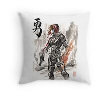 Female Shepard with Japanese Calligraphy Courage Throw Pillow