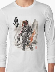 Female Shepard with Japanese Calligraphy Courage Long Sleeve T-Shirt