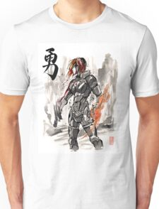 Female Shepard with Japanese Calligraphy Courage Unisex T-Shirt