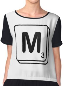 M scrabble print Chiffon Top