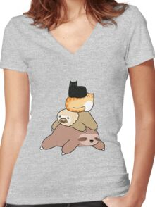 Sloth and Cat Pile Women's Fitted V-Neck T-Shirt