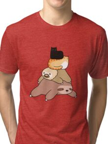 Sloth and Cat Pile Tri-blend T-Shirt