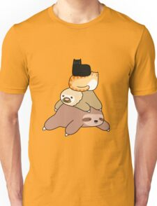 Sloth and Cat Pile Unisex T-Shirt