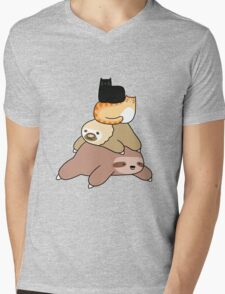 Sloth and Cat Pile Mens V-Neck T-Shirt
